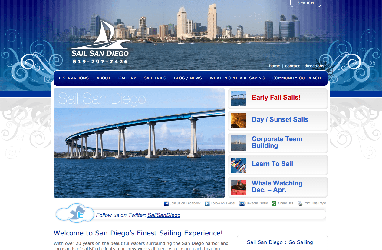 Photo of Sail San Diego Website